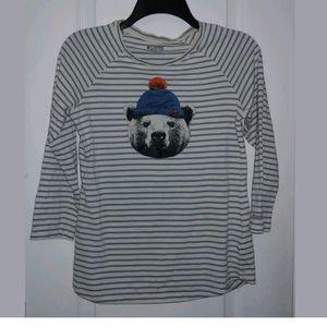 S Columbia Blue-Gray Striped Bear Print Top